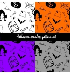 Halloween seamless pattern set vector