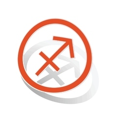 Sagittarius sign sticker orange vector