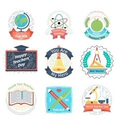 Color retro teachers day logos set vector