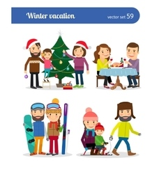 Winter vacation people vector