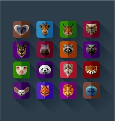 set of animals in the style of origami abst vector image