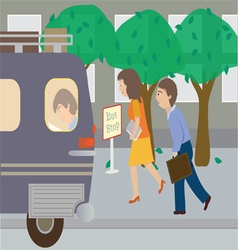 At the bus stop vector