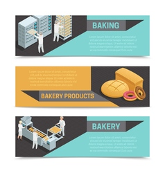 Bakery factory isometric banner set vector