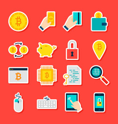 Bitcoin cryptocurrency stickers vector