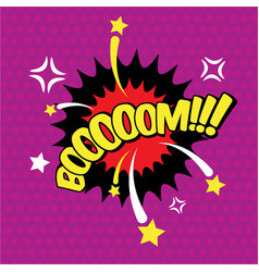 Boom comic inscription text speech bubble burst vector