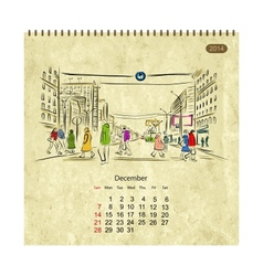 Calendar 2014 december streets of the city sketch vector