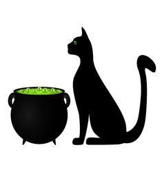Cat and cauldron potion vector