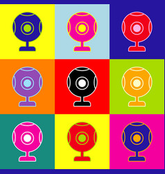Chat web camera sign pop-art style vector