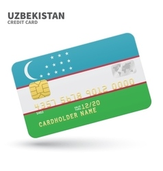 Credit card with uzbekistan flag background for vector