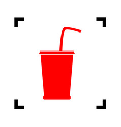 Drink sign red icon inside vector