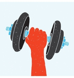 Dumbbell and hand vector