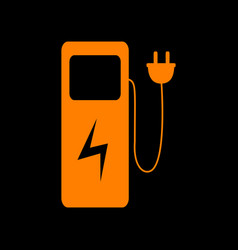 Electric car charging station sign orange icon on vector