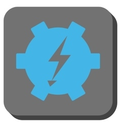 Electric power gear rounded square button vector
