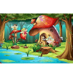 Fairies flying around mushroom house vector image