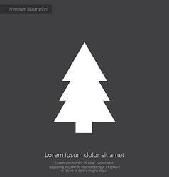 Fir-tree premium icon white on dark background vector
