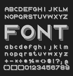 Graphic font with shadows alphabet and numbers vector
