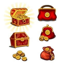Great wealth set chest purse and gold coins vector
