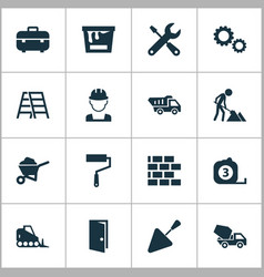 Industry icons set collection of wall spatula vector
