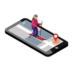 isometric woman skiing searching for cross vector image