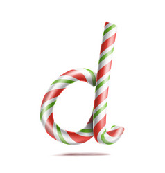 letter d 3d realistic candy cane alphabet vector image vector image