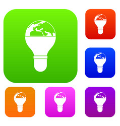 light bulb and planet earth set color collection vector image vector image
