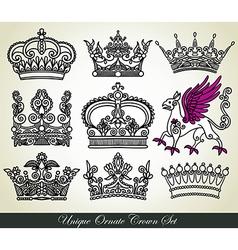 ornamental heraldic crown set vector image