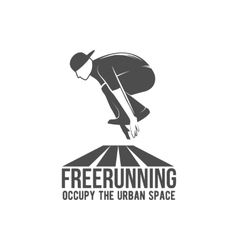 parkour and free running badge vector image