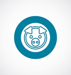 Pig icon bold blue circle border vector
