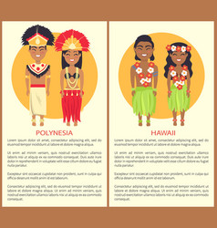 Polynesian hawaii couple wearing traditional cloth vector