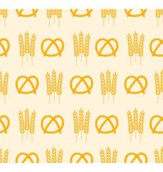 Pretzel and wheat pattern vector