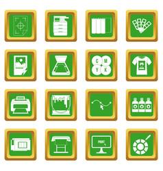 Printing icons set green vector