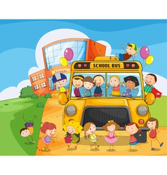 School bus kids vector image vector image