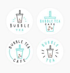 set of bubble tea badges vector image vector image