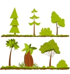 Set of stylized trees and bushes cartoon vector image vector image