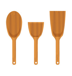 set of wooden kitchen spatula icon vector image vector image