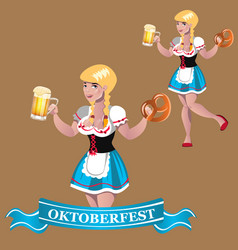 sexy girl with beer octoberfest vector image