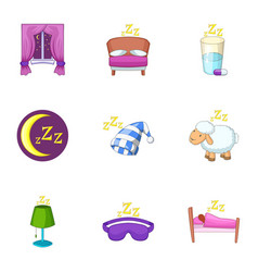 Sleep time icons set cartoon style vector