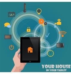 Smart home detectors control concept via tablet vector