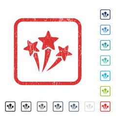Star fireworks icon rubber watermark vector