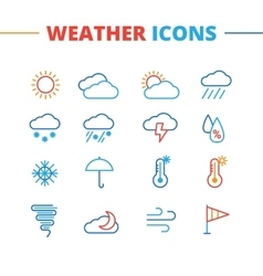 Trendy weather icons set minimalistic line vector