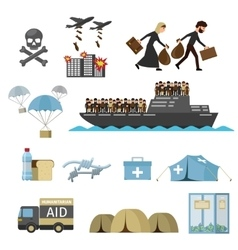 War victims refugees vector