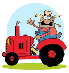 Hispanic farmer waving and driving a red tractor vector