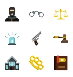 Crime icons set flat style vector