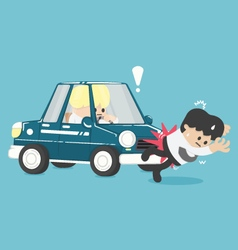 Business man hit by a car flat vector