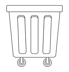 Outdoor trash bin with wheels icon outline style vector