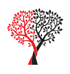 Black and red trees and leafs vector