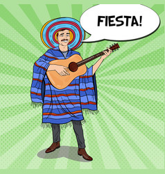 Pop art mexican in sombrero with guitar vector