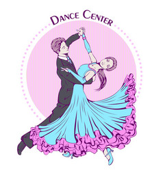 Dance line color ballroom dancing classic vector