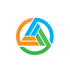 circle triangle colored logo image vector image
