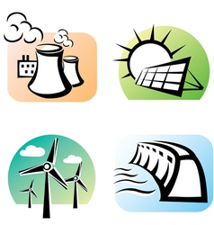 Power plants set icons vector